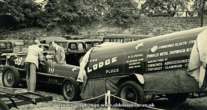 The modified racing car trailer and Poore's Alfa 8C-35