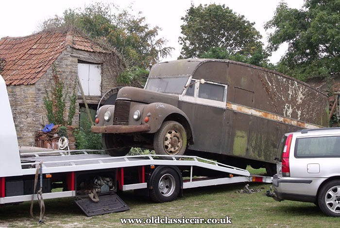The Commer looks skyward as it is loaded up