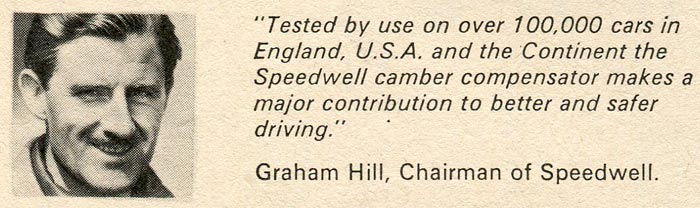 Graham Hill endorses the camber compensator