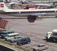A Triumph Herald parked at Heathrow airport