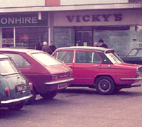 Cars in a car park during the 1970s