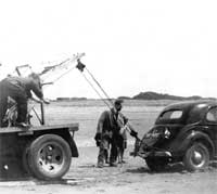 Recovering a car stuck in the sand at Berrow