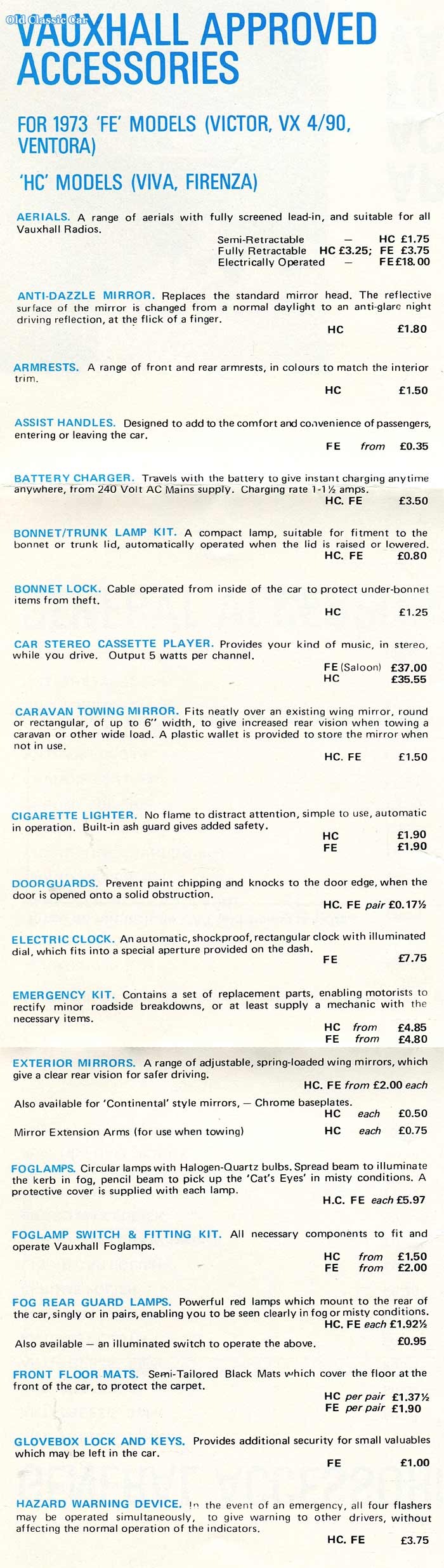 Vauxhall Viva accessories part 1