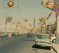 Green Vauxhall Velox PA in 1960s Blackpool