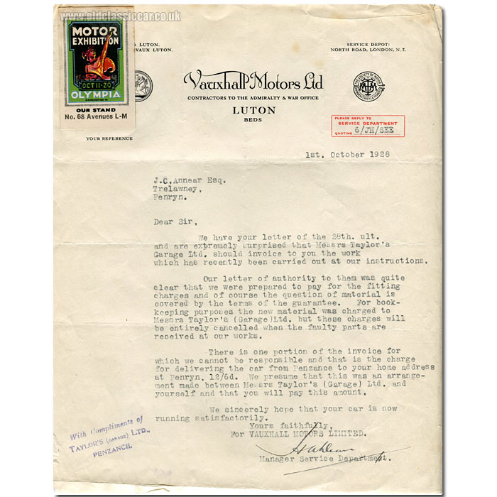 Letter regarding Vauxhall cars dating to 1928