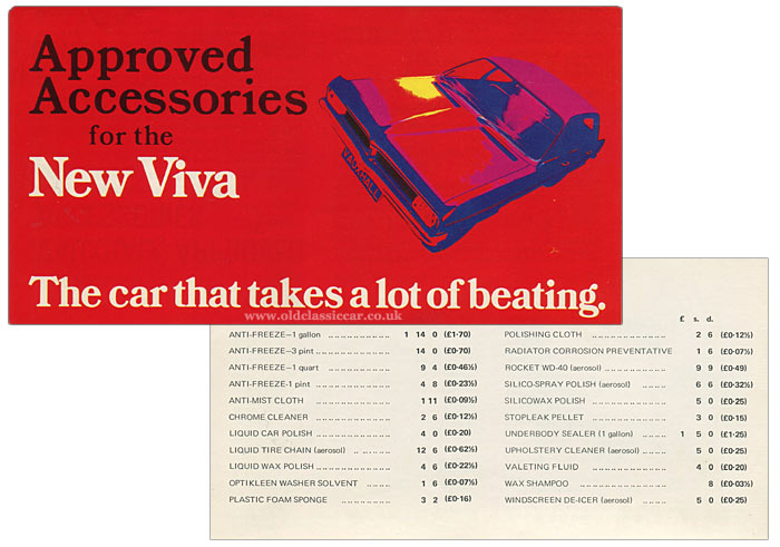 Vauxhall Viva HC Firenza prices and accessories