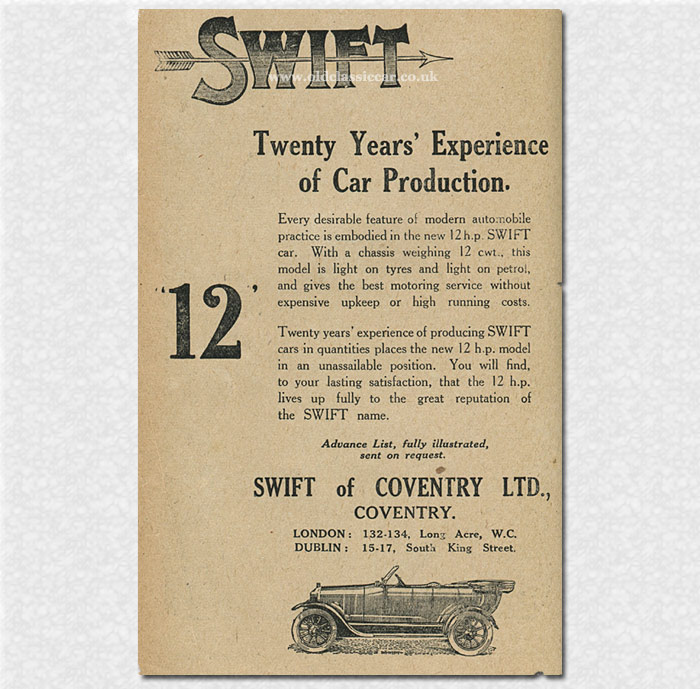 Swift of Coventry car advert, 1920