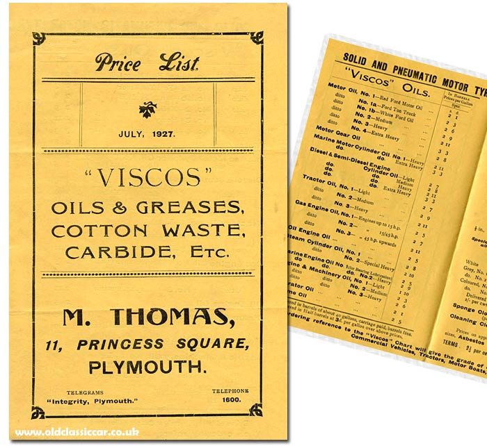 Viscos oils leaflet from the 1920s