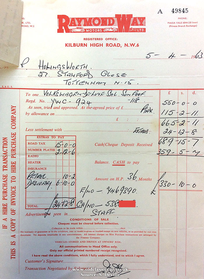 Invoice for 1963 VW Beetle