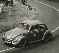 A Beetle competes in a race, circa 1959