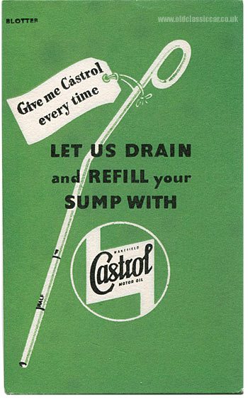 A second promotional blotter advertising Wakefield Castrol oils