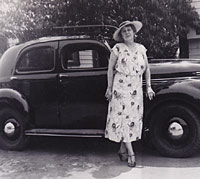 Period photo of a pre-war four-door Willys sedan