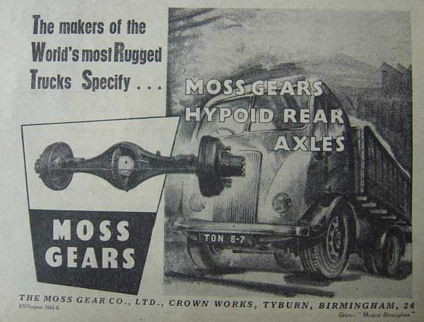 Hypoid rear axles from The Moss Gear Co. Ltd.